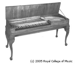 Black and white photograph of the clavichord by Johann Bohak, RCM 177